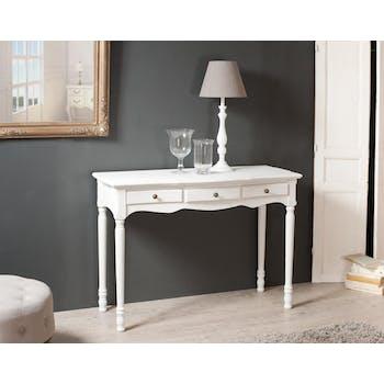 Console 3 tiroirs bois peint blanc 110x45x79cm MARIE