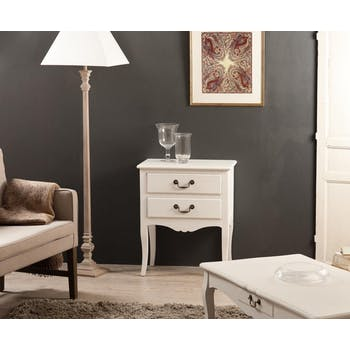 Petite commode blanche 2 tiroirs MARIE