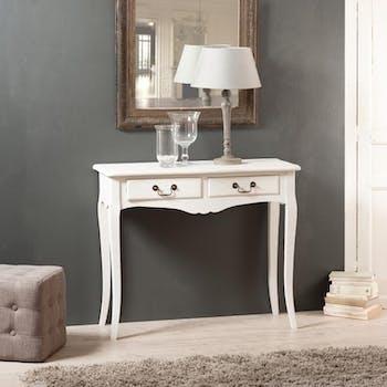 Console 2 tiroirs bois peint blanc 90,5x38,5x76cm MARIE