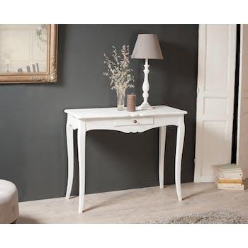 Console 1 tiroir bois peint blanc 93x40x76cm MARIE