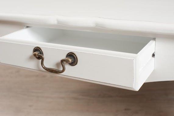Table basse 2 tiroirs bois peint blanc 110x60x40cm MARIE
