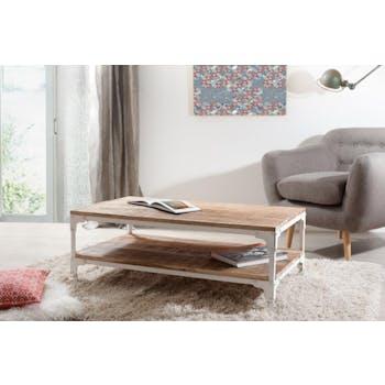 Table basse manguier et métal double plateau 111x61 RALF