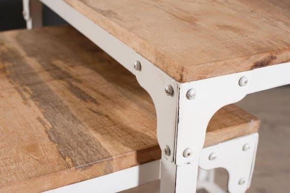 Tables gigognes x3 manguier et métal 49x43 RALF