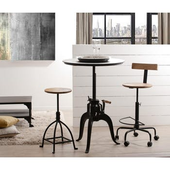Table ronde repas métal industrielle ajustable 75x75 RALF