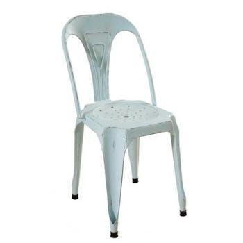 Chaise métal industrielle bleue patinée RALF