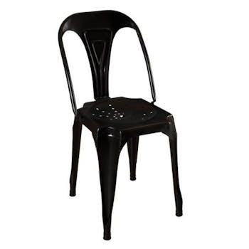 Chaise métal industrielle noire patinée RALF