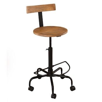 Chaise à roulettes avec dossier manguier et métal RALF