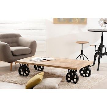Table basse industrielle manguier et métal 146x80 RALF