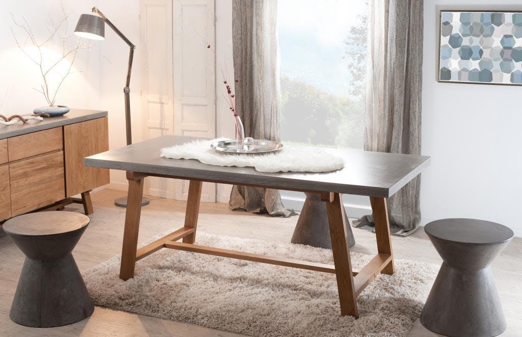 Table à manger rectangle chêne et béton 180x90 FERRER