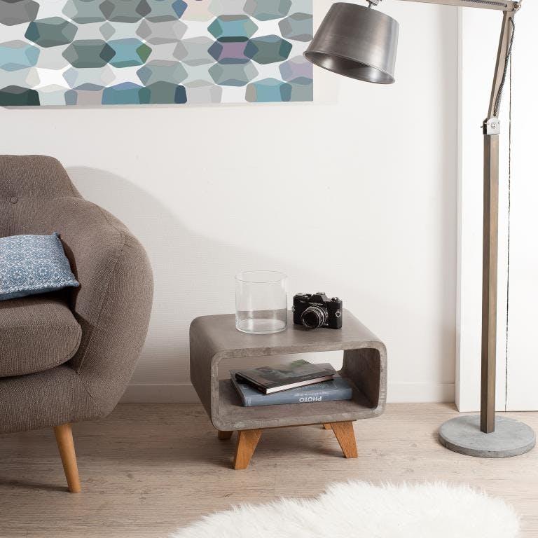 Bout de canapé double plateau béton et chêne 50x36 FERRER