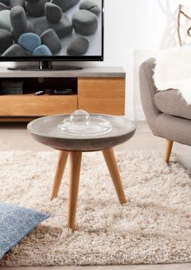 Table d'appoint ronde béton et chêne 50x50 FERRER