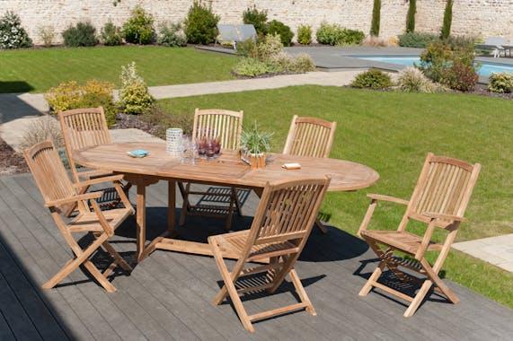 Lot de 2 fauteuils de jardin pliant Lombock en Teck  99 cm SUMMER