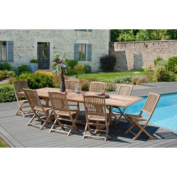 Salon de  jardin en teck Table rectangle 200/300 cm et 8 chaises Lombock pliantes SUMMER