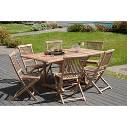 Salon de jardin en teck Table rectangle 120/180 cm et 6 chaises Java pliantes SUMMER