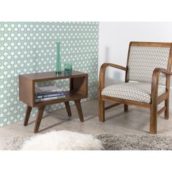Chevet / Table d'appoint vintage bois couleur cannelle 1 niche 50X30X52cm FANNY
