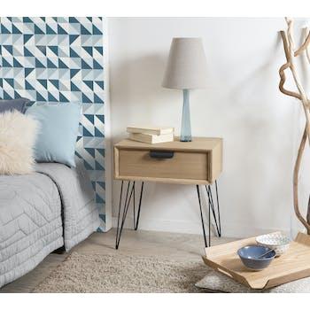 Table de chevet bois pieds épingle style rétro