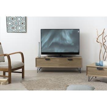 Meuble TV rétro bois 1 tiroir 1 porte pieds métal noir en épingle 3 tiges 120X40X39cm