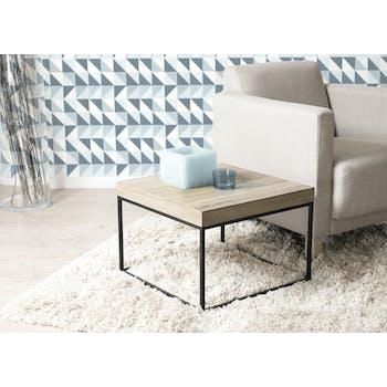 Bout de canapé / Table d'appoint cubique industrielle bois et pieds métal noir 50X50X36cm LALI