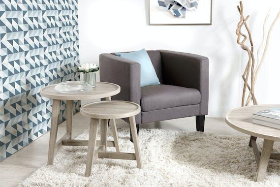 Lot de 2 tables gigognes rondes rétro bois pieds chevalet 57X57X53cm LANDAISE