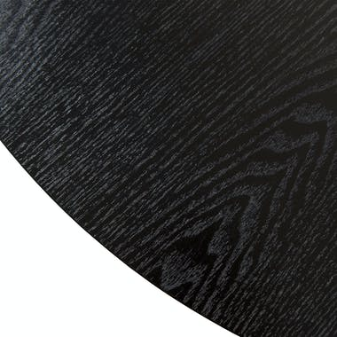 Table basse ronde rétro bois et pied rond métal noir tiges croisées 80X80X46cm LANDAISE