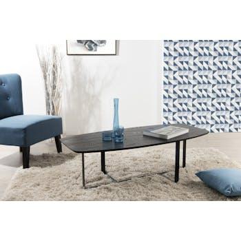 Table basse rectangulaire moderne bois et pieds métal noir plat 121X55X38cm LANDAISE