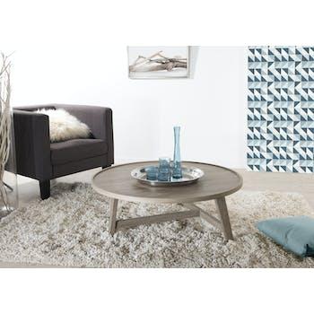 Table basse ronde rétro bois pieds chevalet 90X90X36cm LANDAISE