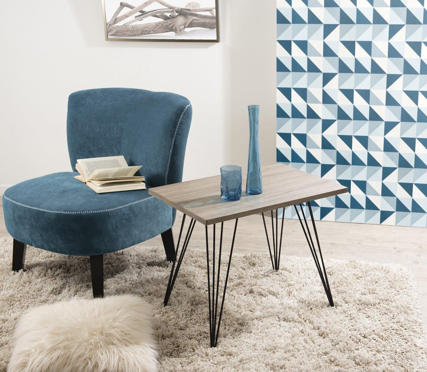 Table basse rectangle rétro bois et pieds métal noir en épingle 4 tiges 60X40X51cm LANDAISE