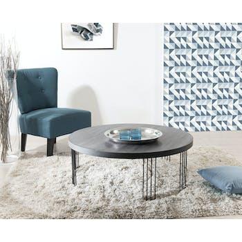 Table basse ronde rétro bois et pieds en arc de cercle métal noir 95X95X35cm LANDAISE