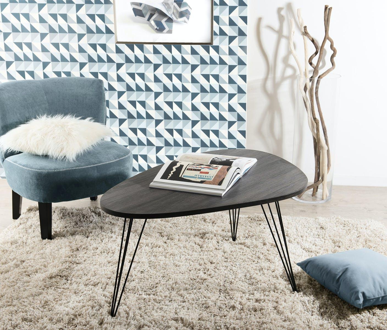 Table basse forme galet rétro bois et pieds métal noir en épingle 4 tiges 97X65X50cm LANDAISE