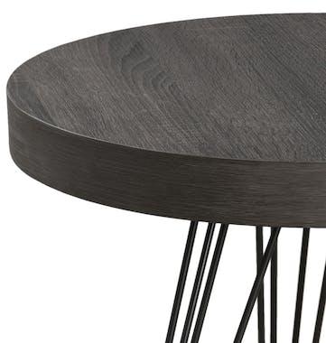 Sellette / Guéridon rond rétro bois et pieds métal noir en épingle 4 tiges 50X50X55cm LANDAISE