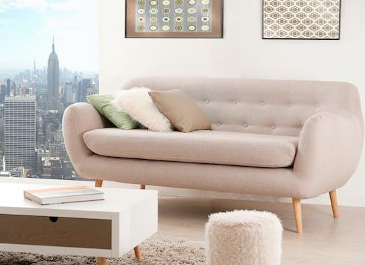 Canapé 3 places Capitonné tissu beige clair chiné et pieds en Hêtre naturel 190x85x85cm PABLO