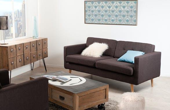 Canapé 3 places Capitonné tissu marron chiné et pieds en Hêtre naturel 185x85x84cm PABLO