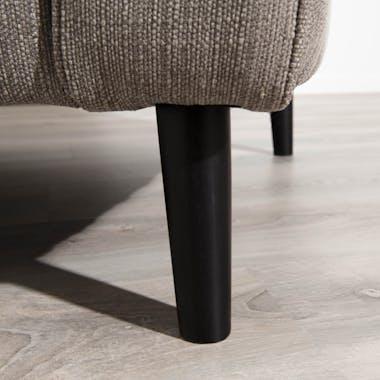 Canapé Evasé 3 places tissu gris beige clair chiné et pieds en Hêtre noir 240x95x94cm PABLO