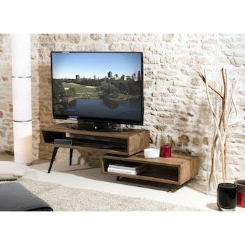 Meuble TV contemporain teck recyclé SWING