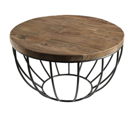 Petite table basse ronde teck recyclé structure filaire noire SWING