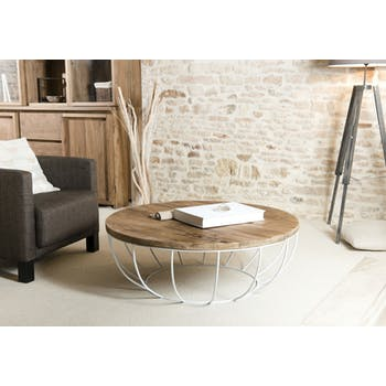 Table basse ronde teck recyclé structure filaire blanche 1 plateau SWING