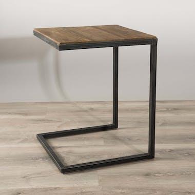 Bout de canapé bois de teck recyclé métal noir SWING