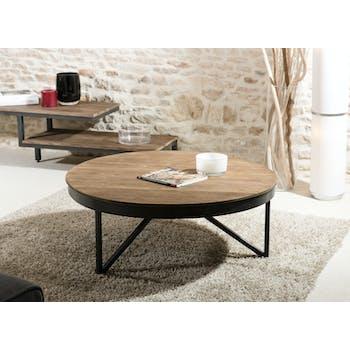 Table basse ronde bois de teck recyclé métal noir grand modèle SWING