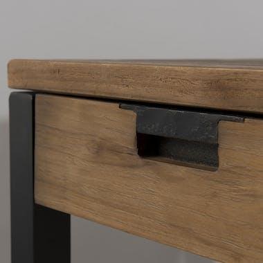 Bureau en Teck recyclé et métal noir 2 tiroirs 140x70x78cm SWING