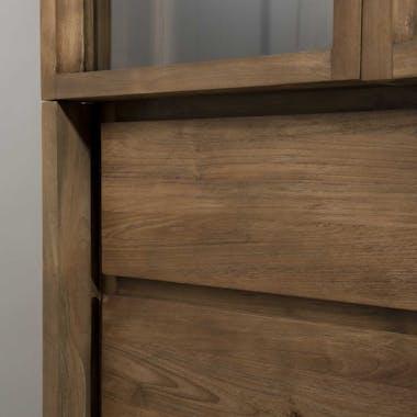 Vaisselier en Teck recyclé 2 portes vitrées, 4 tiroirs 90x45x220cm SWING
