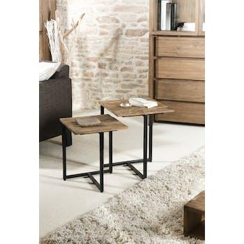 Table gigogne bois de teck recyclé métal noir SWING (lot de 2)
