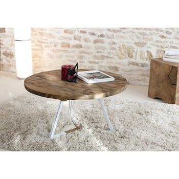 Table basse ronde en Teck recyclé et pieds métal blanc et bois D75xH41cm SWING