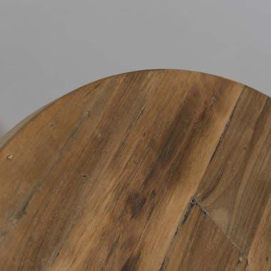 Table basse ronde en Teck recyclé et pieds métal noir et bois D75xH41cm SWING
