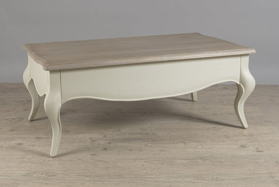 Table basse inspiration baroque 2 tiroirs en Manguier couleur argile 115,5x65x46,5cm ODYSSEE