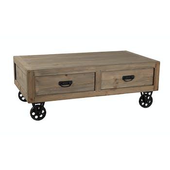 Table basse à roulettes métal, 2 tiroirs, en Pin 110x60,5x40,5cm ATELIER