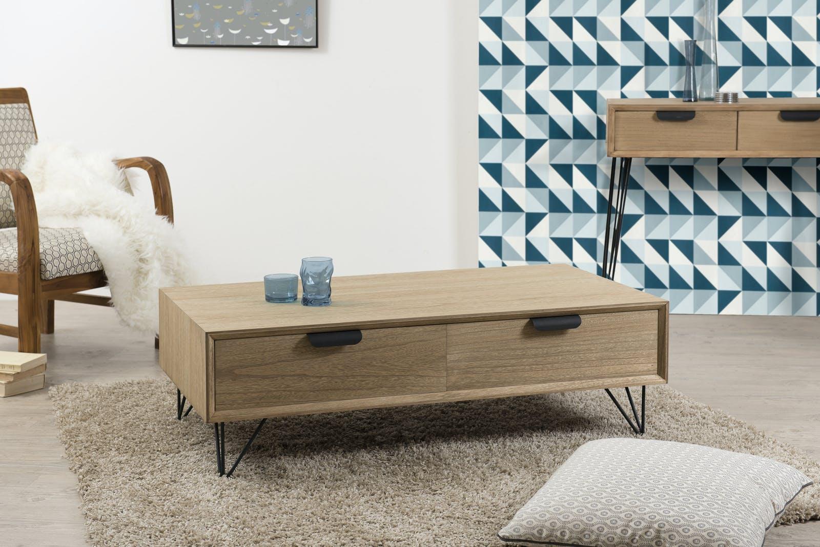 Table basse rétro bois 4 tiroirs pieds métal noir en épingle 3 tiges 110x60x35cm