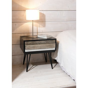 Table de chevet en Acacia massif noir 1 tiroir bandes teintes variées et pieds métal noir 60x45x59,5cm CADIX