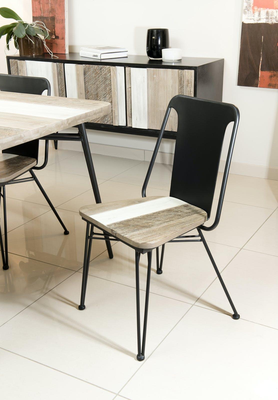 Chaise en Acacia massif bandes teintes variées et métal noir 50,5x49x85cm CADIX