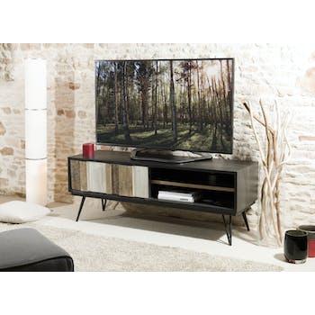 Meuble TV en Acacia massif noir 2 niches, 1 porte coulissante bandes teintes variées 150x45x56cm CADIX
