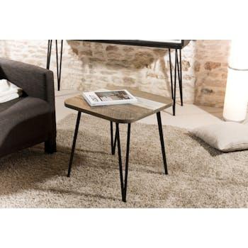 Bout de canapé en Acacia massif noir bandes teintes variées et pieds métal noir 50x50x51cm CADIX